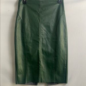Express leather green  pencil skirt size 2.